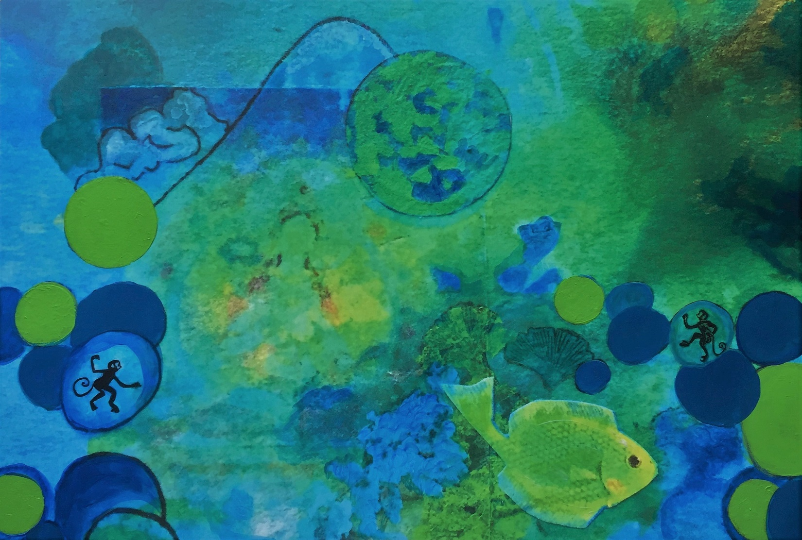 Blue Green Meditation Mixed Media on Aluminum